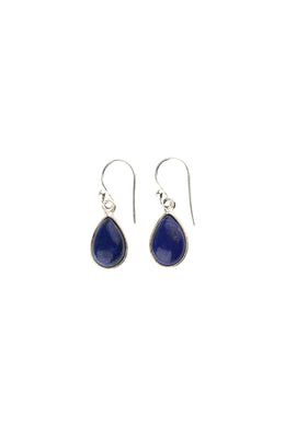 Lapis Cabochon Teardrop Silver Earrings