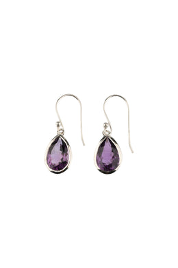 Amethyst Faceted Teardrop Silver Earrings