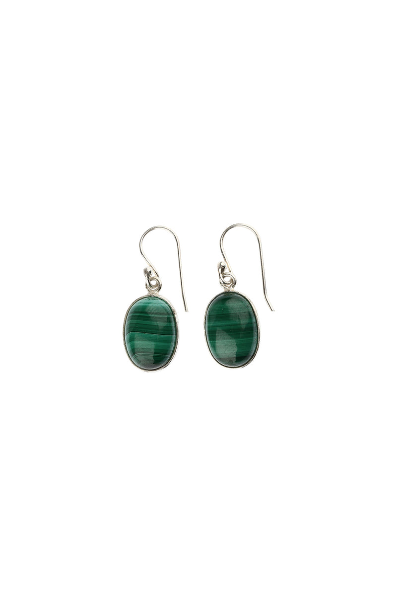 Malachite Oval Droplet Silver Earrings