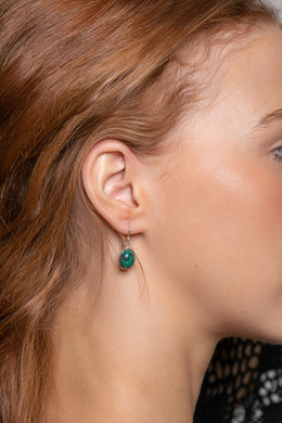 Chrysocolla Oval Droplet Silver Earrings