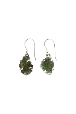 Moldavite Raw Rough Silver Earrings