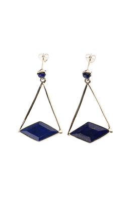 Blue Quartz Diamond Shape Silver Earrings