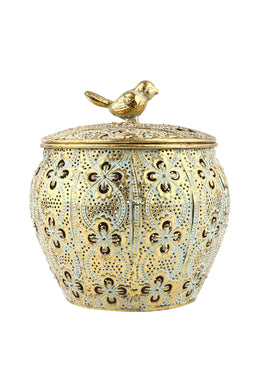 Metal Bird Lid Floral Lattice Box