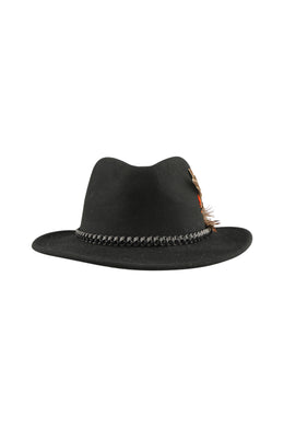 Wool Felt Feathered Fedora Hat