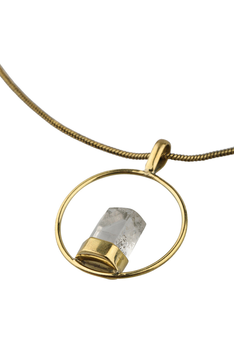 Brass Ring Crystal Point Necklace