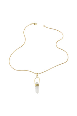 Crystal Shard Brass Necklace
