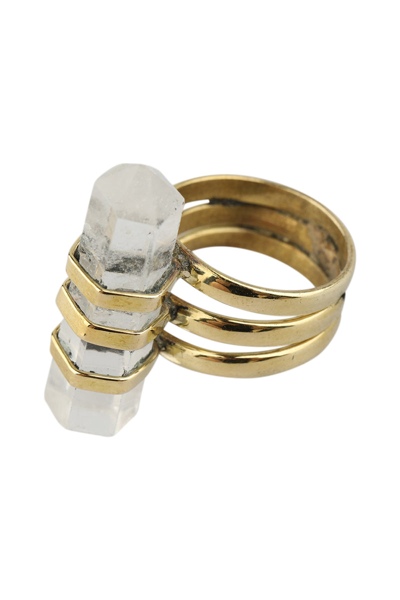 Brass Wrap Crystal Ring