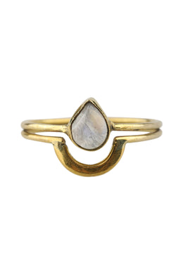 Crystal Teardrop Brass Ring