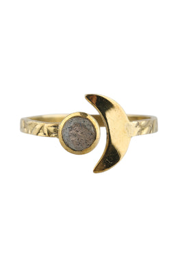 Brass Moon Open Ring