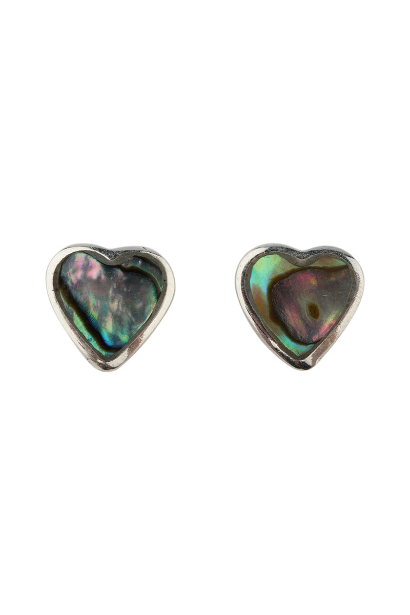 Abalone Shell Heart Stud Silver Earrings