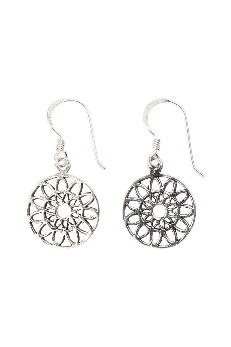 Filigree Petal Disc Silver Earrings