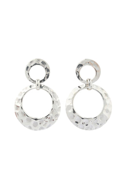 Circles Pebbled Silver Earrings