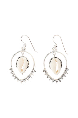 Swinging Cowrie Silver Earrings