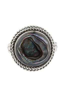 Round Roped Abalone Silver Ring