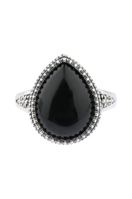 Statement Teardrop Black Onyx Tribal Silver Ring