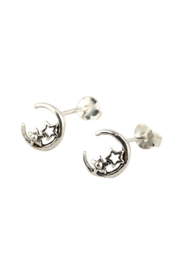 Fine Crescent Moon Star Stud Earrings