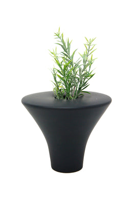 Black Flat Top Ceramic Cone Vase