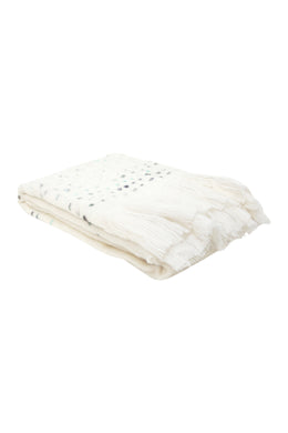 Coastal White Wool Throw Rug