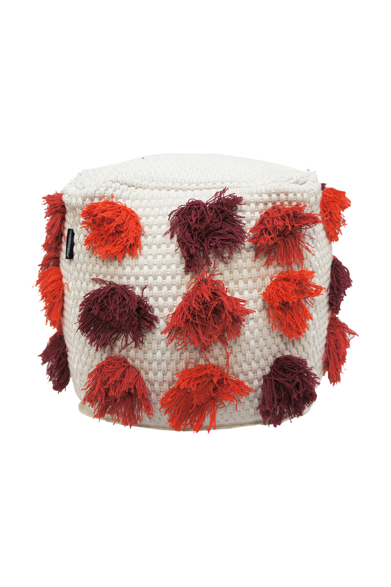 Red Tufted Cream Ottoman