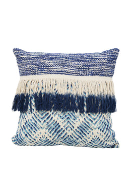 Blue Fringe Cushion