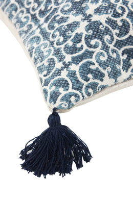 Blue Pattern Tassel Cushion