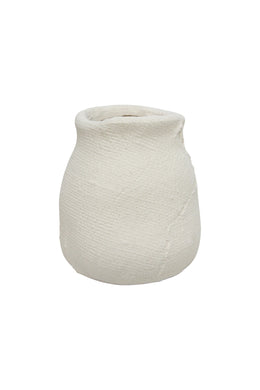 Large Matte White Hessian Ceramic Vase