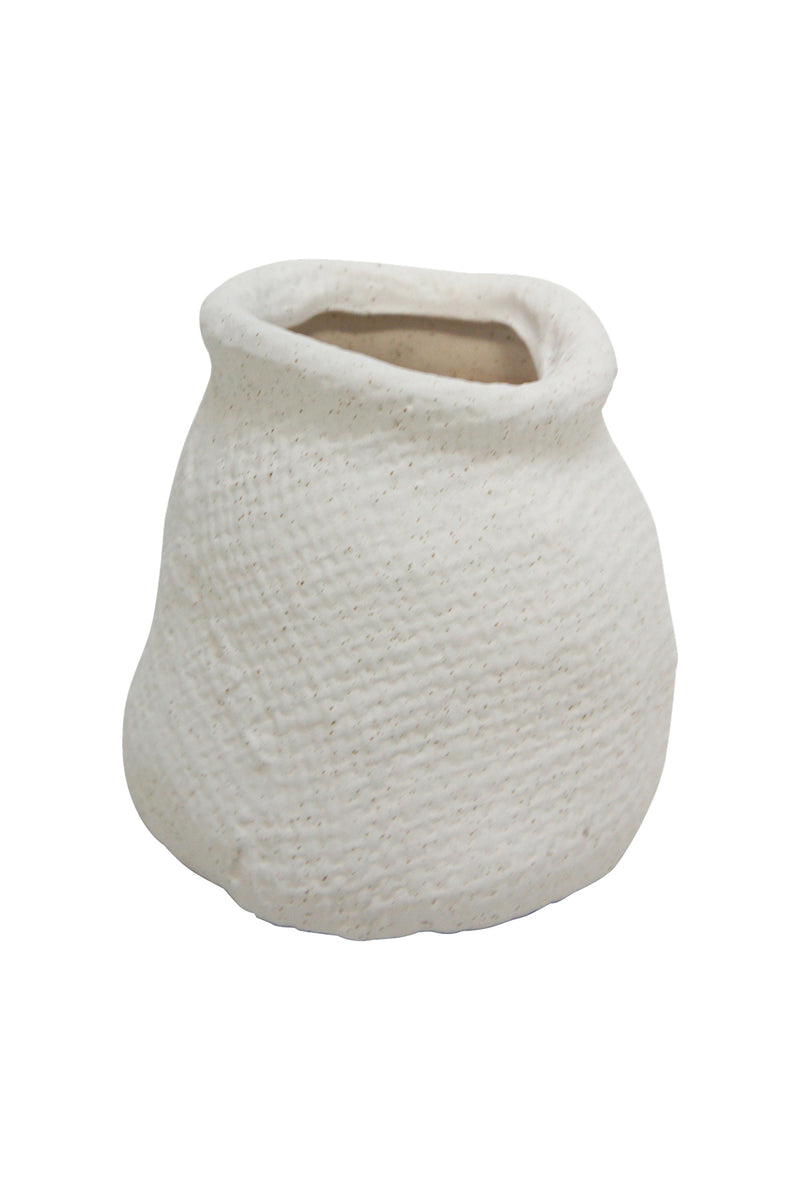 Matte White Hessian Ceramic Vase