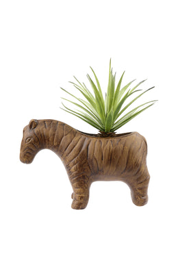 Artificial Sword Grass Ceramic Zebra Plant Pot