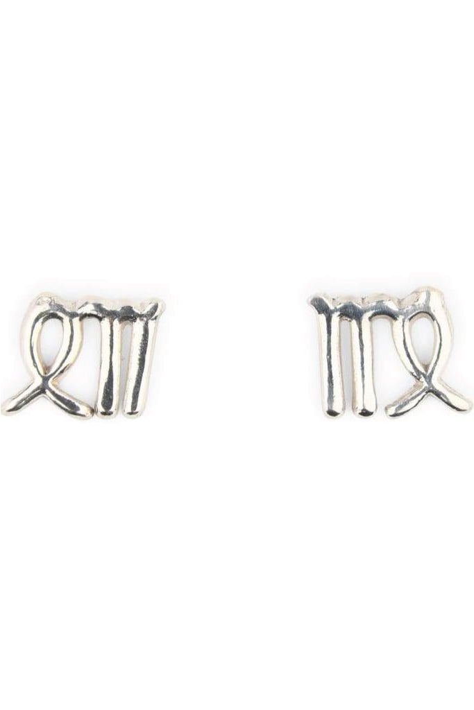 Silver Zodiac Stud Earrings - Virgo