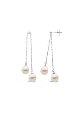 Freshwater Double Pearl Dangle Earrings