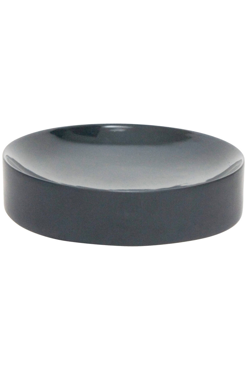 Black Ceramic Concave Bowl