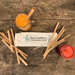 Ibubambu bamboo Straws 'Family Pack' - 8 large, 4 small & cleaning brush