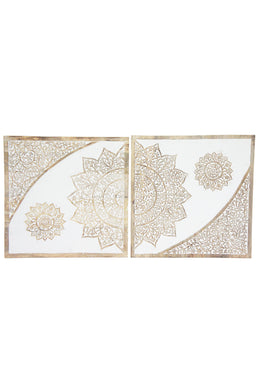 Set of 2 White Bodii Carved Wall Panel