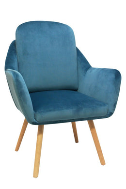 Grace Velvet Arm Chair - Dusty Blue