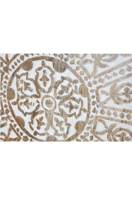 White Distress Bindi Carved Wall Panel