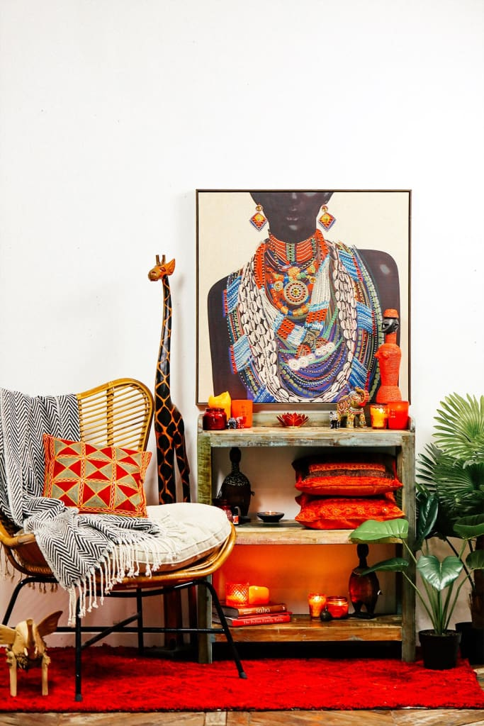 African Woman with Jewellery Print Framed Canvas
