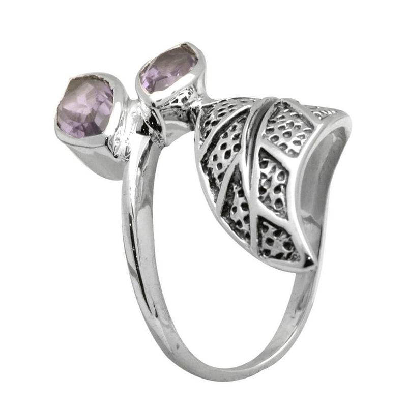 Amethyst Leaf Wrap Ring