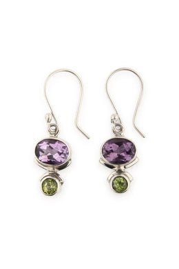 Amethyst Peridot Droplets Earrings
