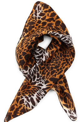 Animal Print Silk Tie Head Scarf