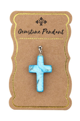 Assorted Gemstone Cross Pendant