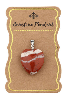 Assorted Gemstone Heart Puff Pendant