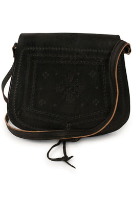 Bag Leather With Carving & Tie Black 26X24Cm