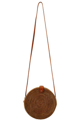 Bag Round Straw Leather Strap 20Cm Natural