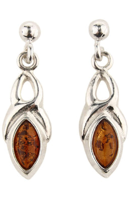 Baltic Amber Celtic Droplet Silver Earrings