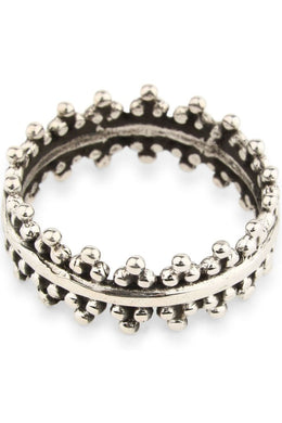 Beaded Band Silver Ring