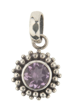 Beaded Circle Amethyst Pendant