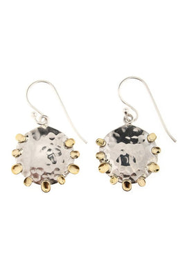 Beaten Metal Silver & Brass Earrings