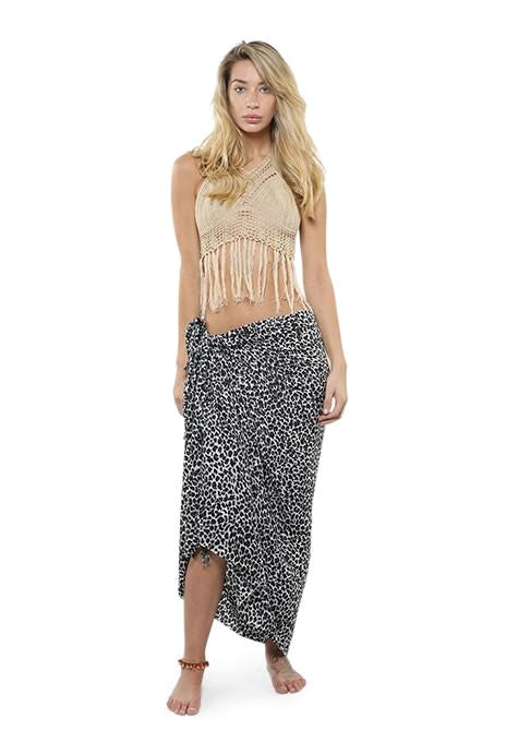 Black Animal Print Sarong