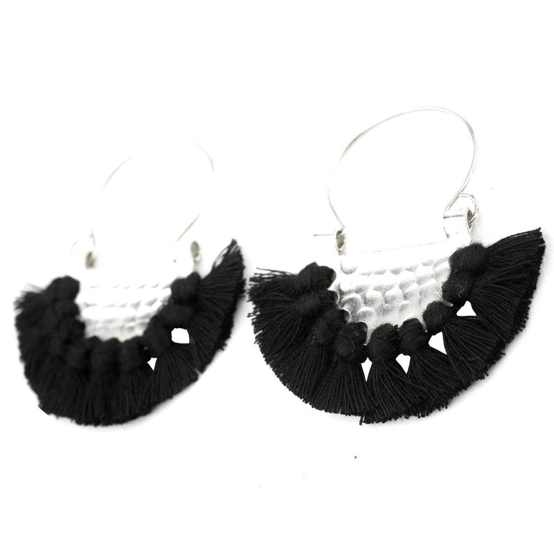 Black Beaten Earrings
