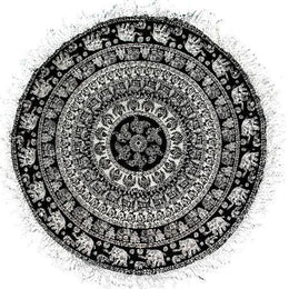 Black Elephant Mandala Round Throw